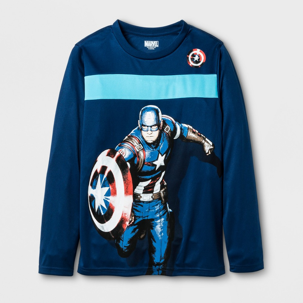 Boys Marvel Captain America One Big Shield T-Shirt - Navy M, Blue