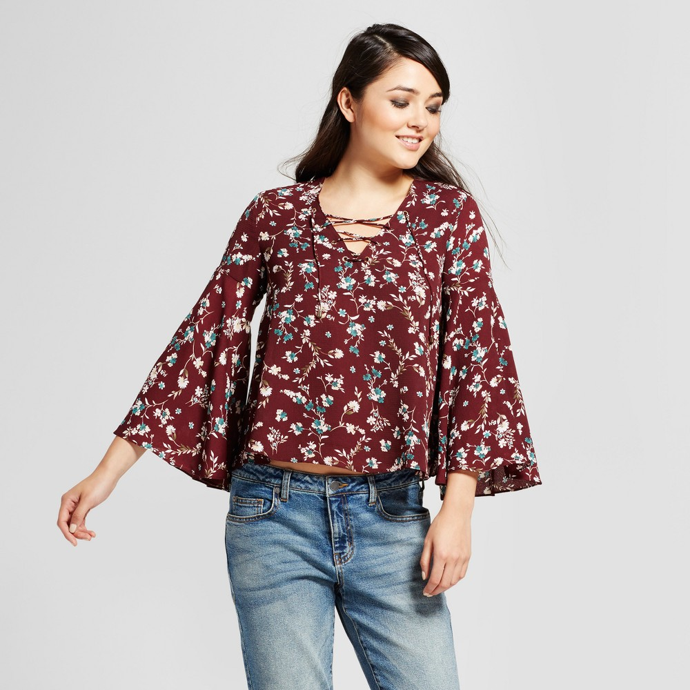 Womens Printed Bell Sleeve Lace-Up Blouse - K by Kersh Red XL