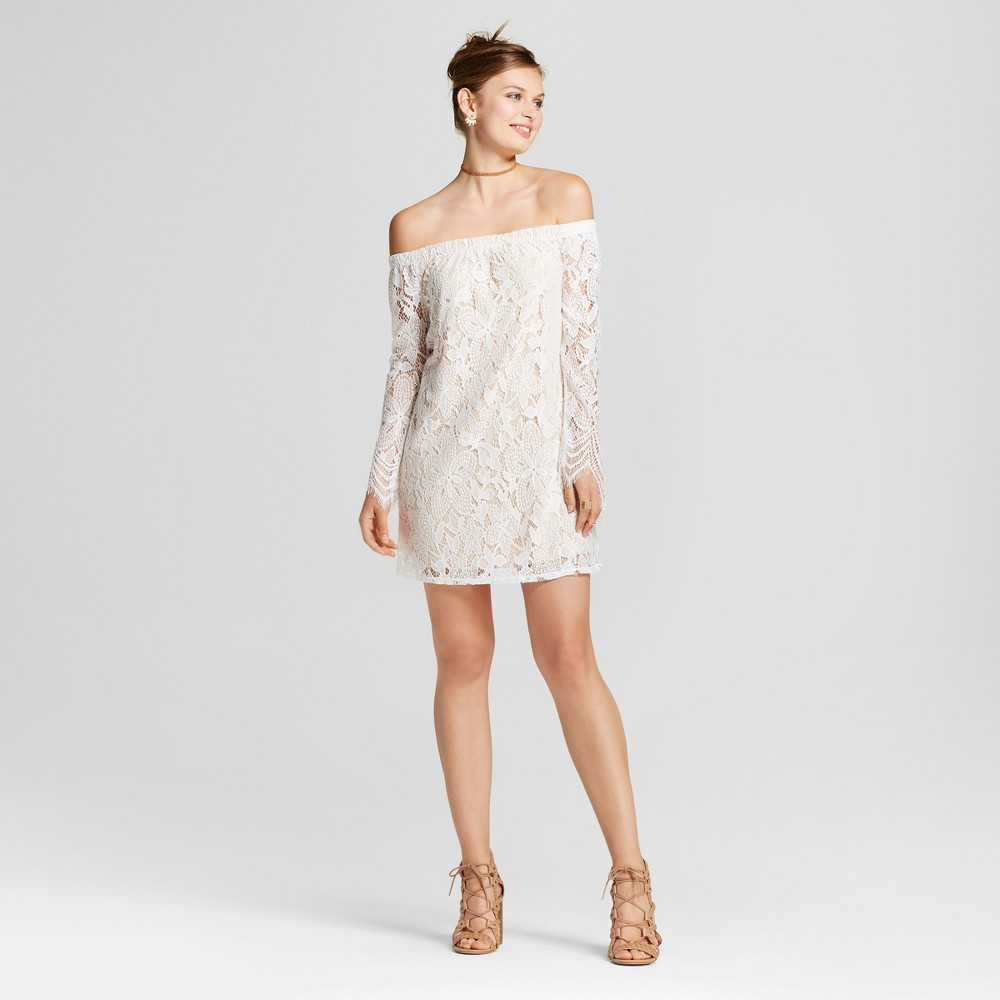 Womens Lace Off the Shoulder Long-Sleeve Shift Dress - Lots of Love by Speechless (Juniors) White XS, White Beige