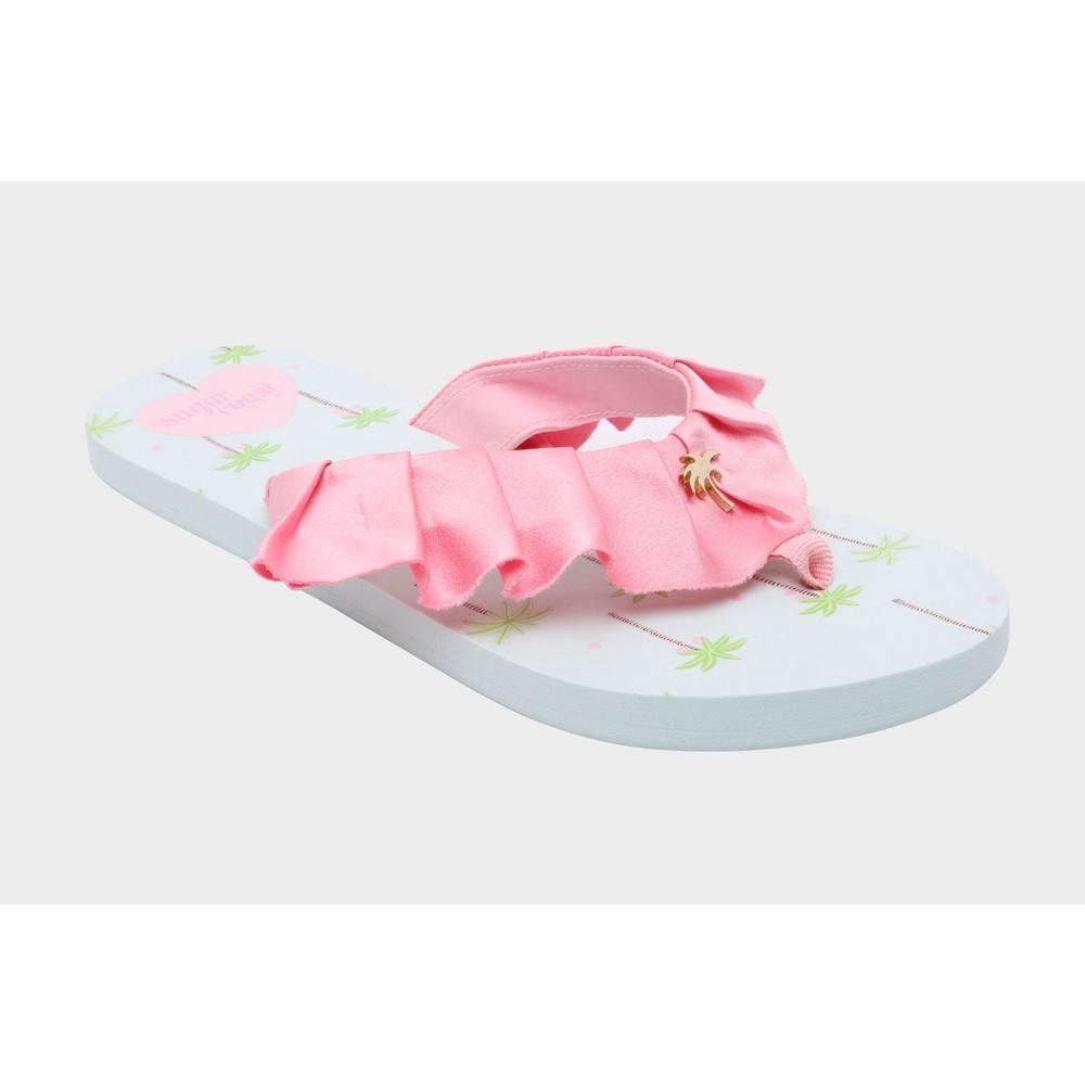 Womens Sugar Coast by Lolli Ruffles Flip Flop Sandals - Pink 8