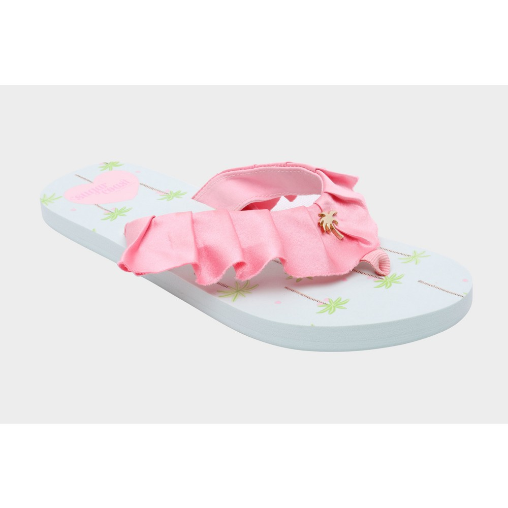 Womens Sugar Coast by Lolli Ruffles Flip Flop Sandals - Pink 11