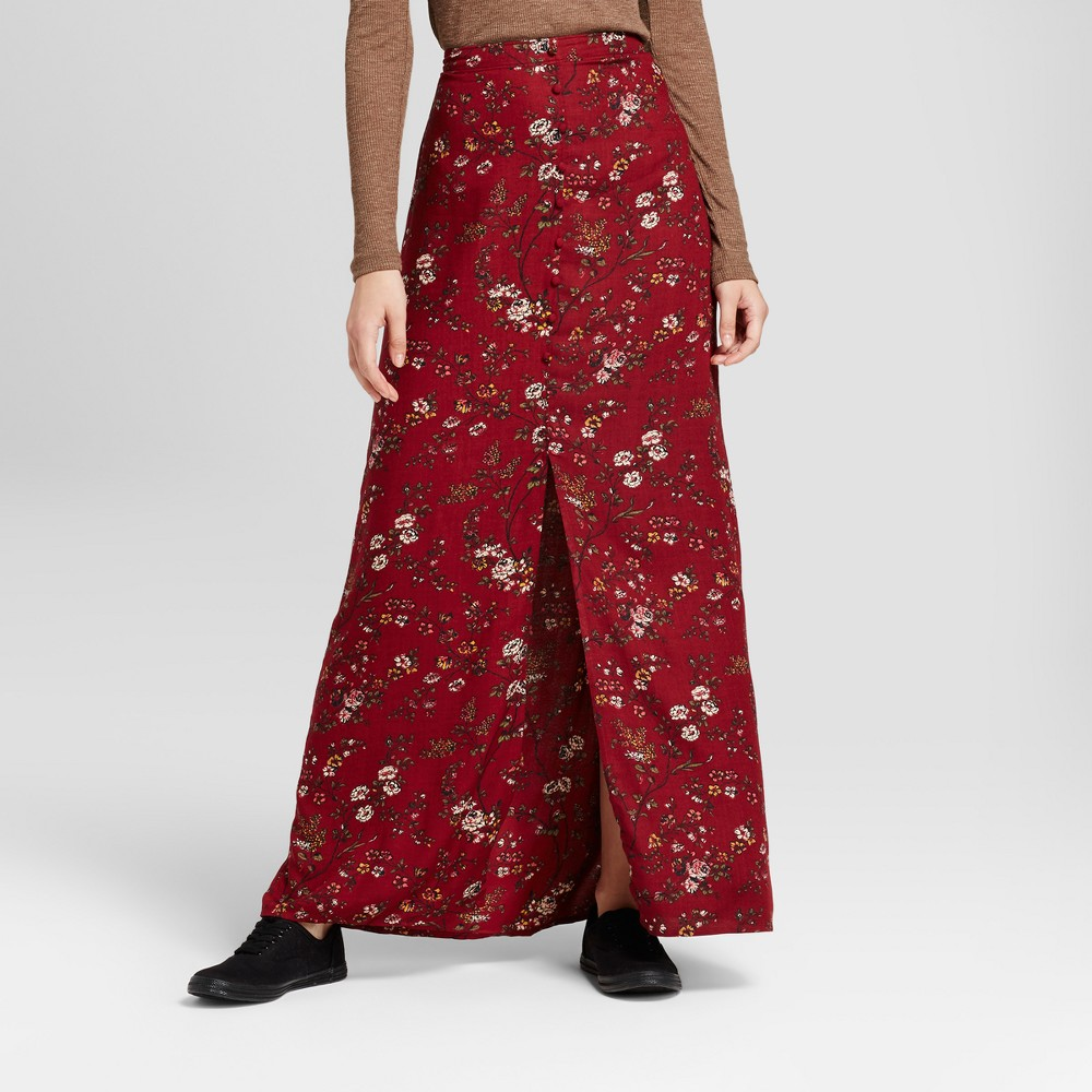 Womens Button Front Maxi Skirt - Mossimo Supply Co. Burgundy Floral L