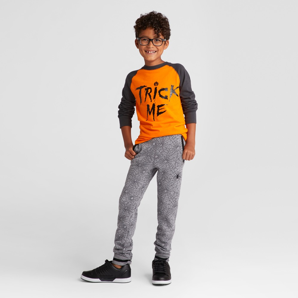 Boys Long Sleeve Trick Me Graphic T-Shirt - Cat & Jack Orange S