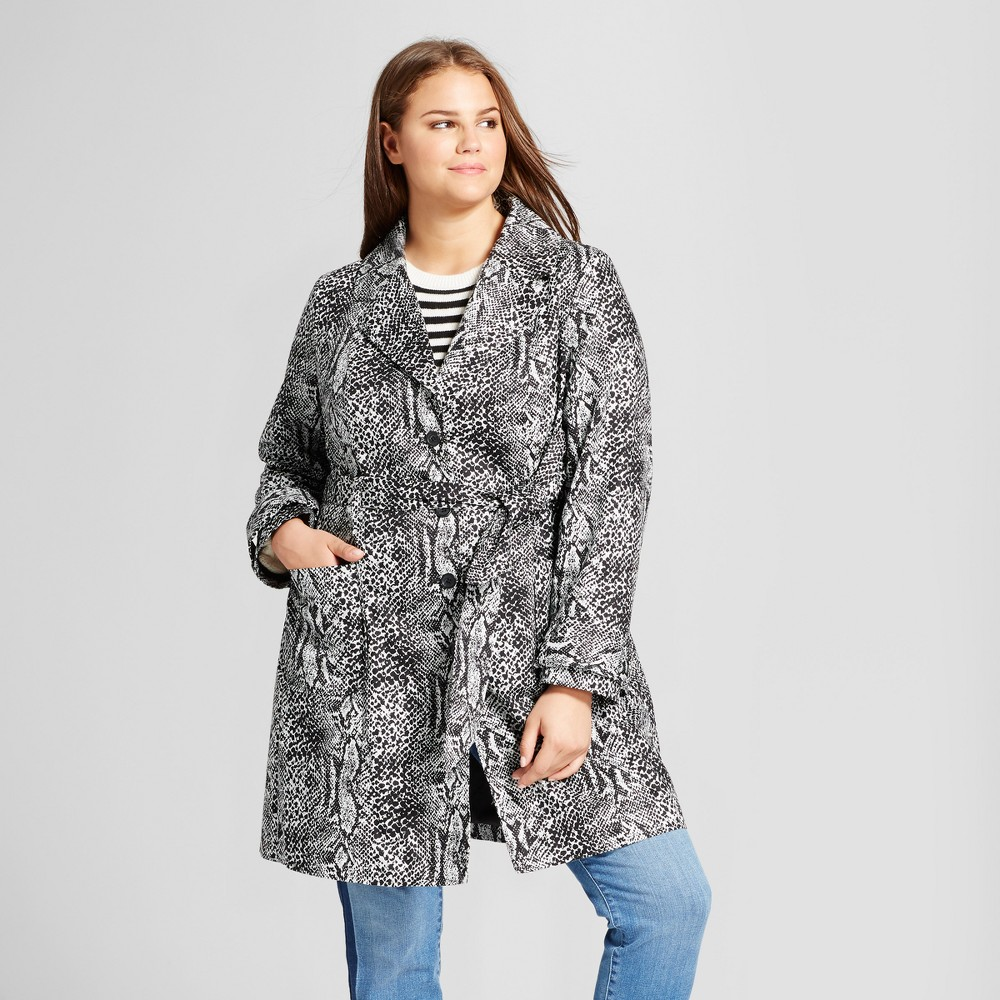 Womens Plus Size Printed Trench - Who What Wear Snakeskin 2X, White