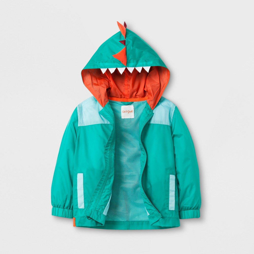 Toddler Boys Dinosaur Spike Windbreaker Jacket Cat & Jack- Green 18M