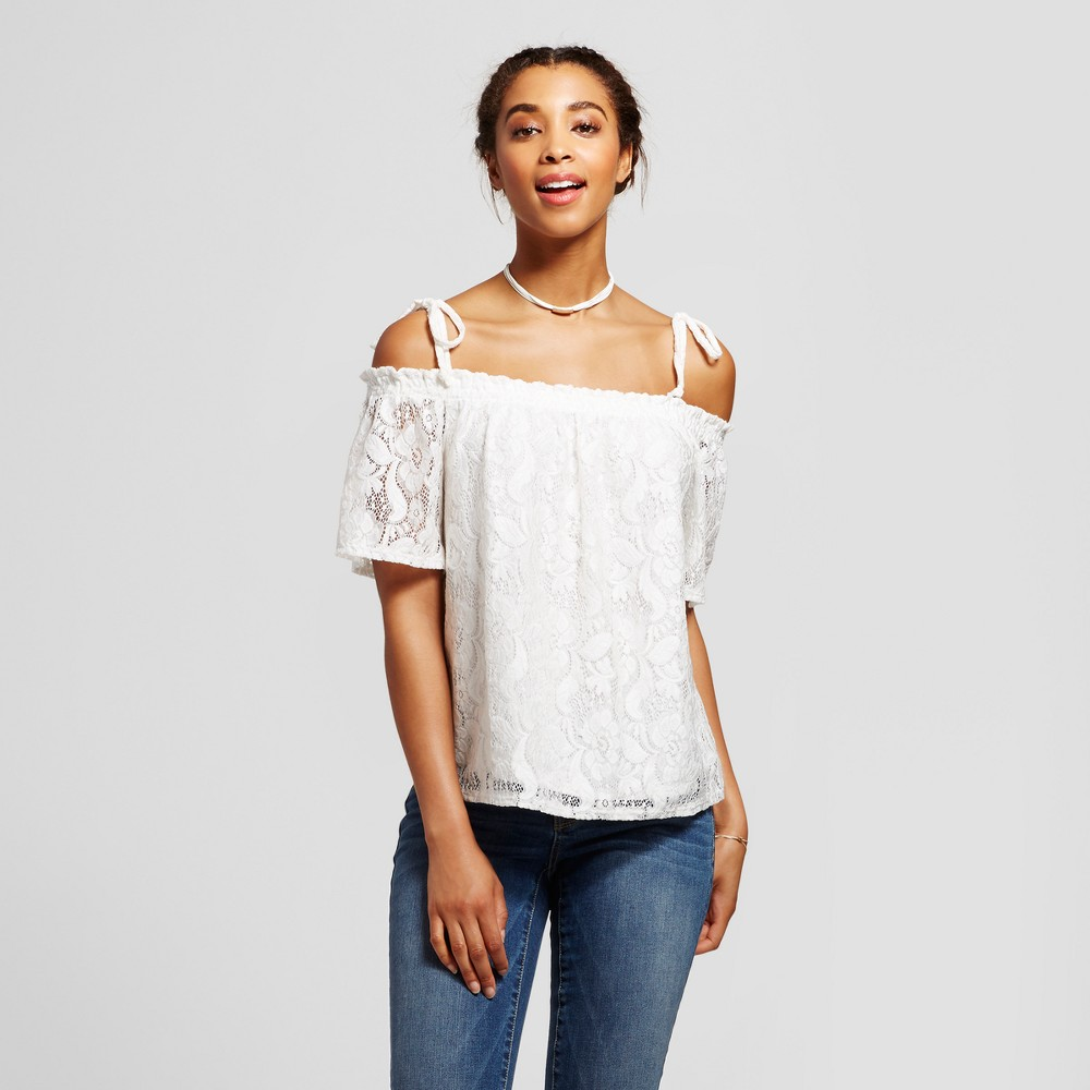 Womens Lace Off the Shoulder Short Sleeve Top - Soul Cake (Juniors) White XL