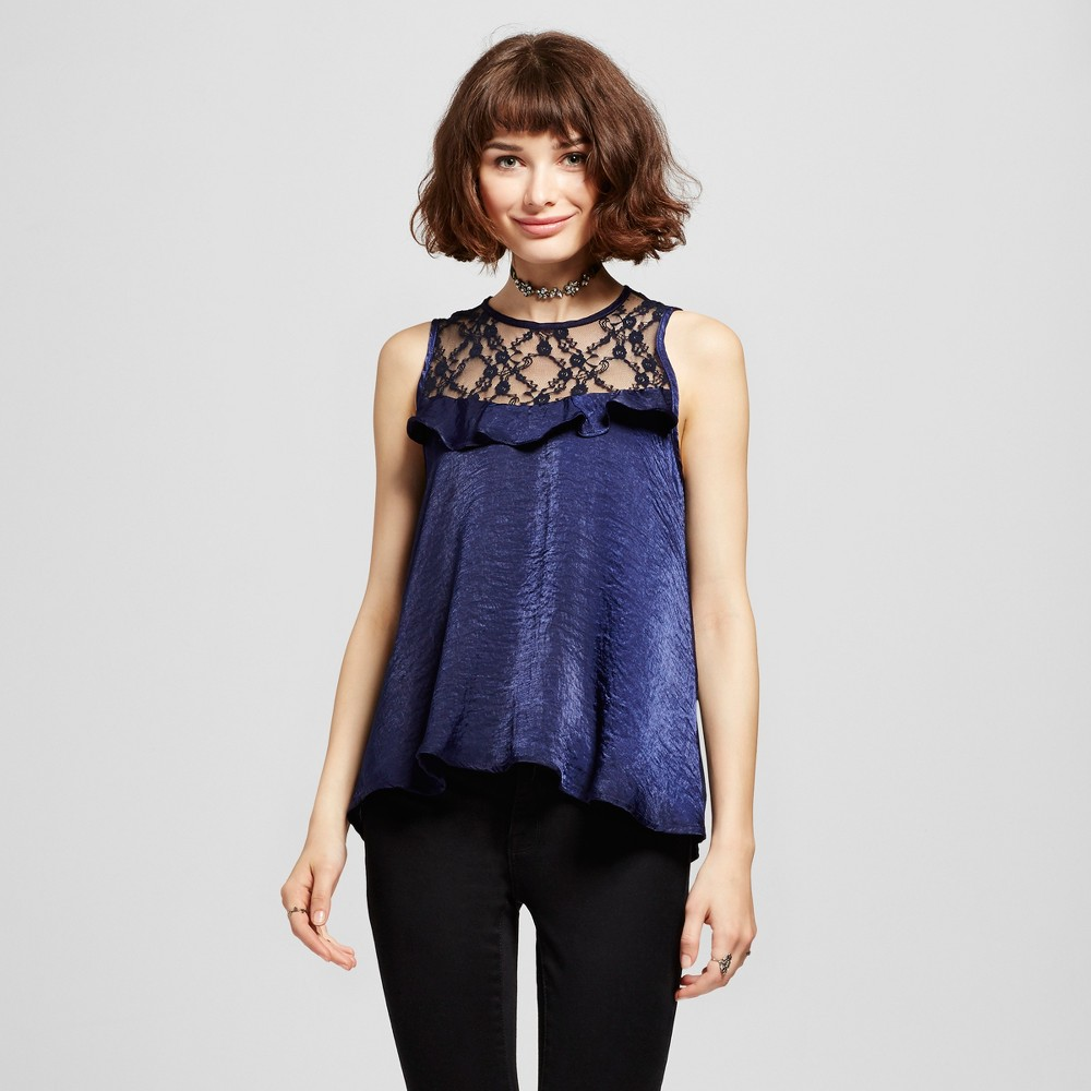 Womens Lace Yoke Ruffle Satin Sleeveless Top - Soul Cake (Juniors) Navy (Blue) S