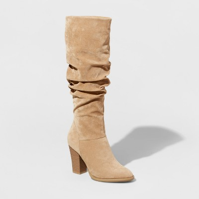 Women's Shelby Heeled Scrunch Tall Boots - A New Day™ Tan 10