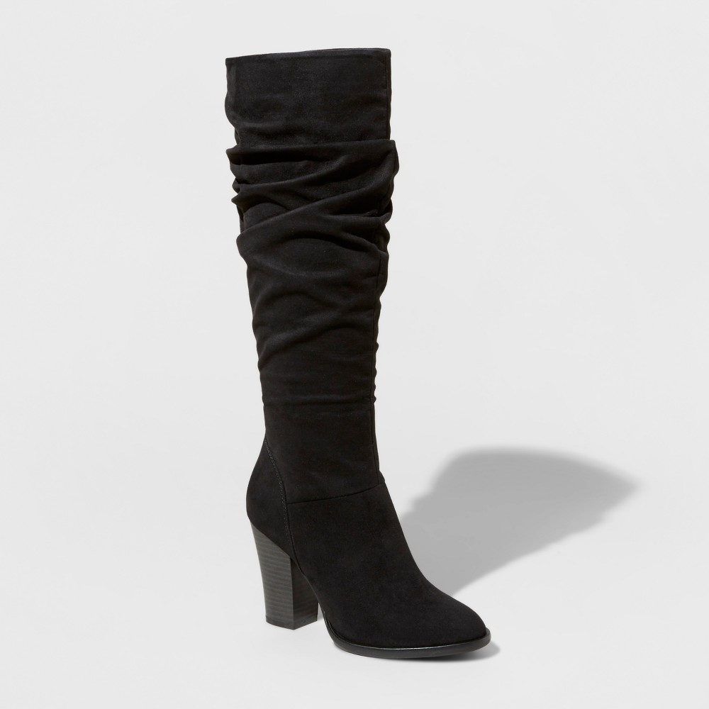 Womens Shelby Heeled Scrunch Tall Boots - A New Day Black 5.5