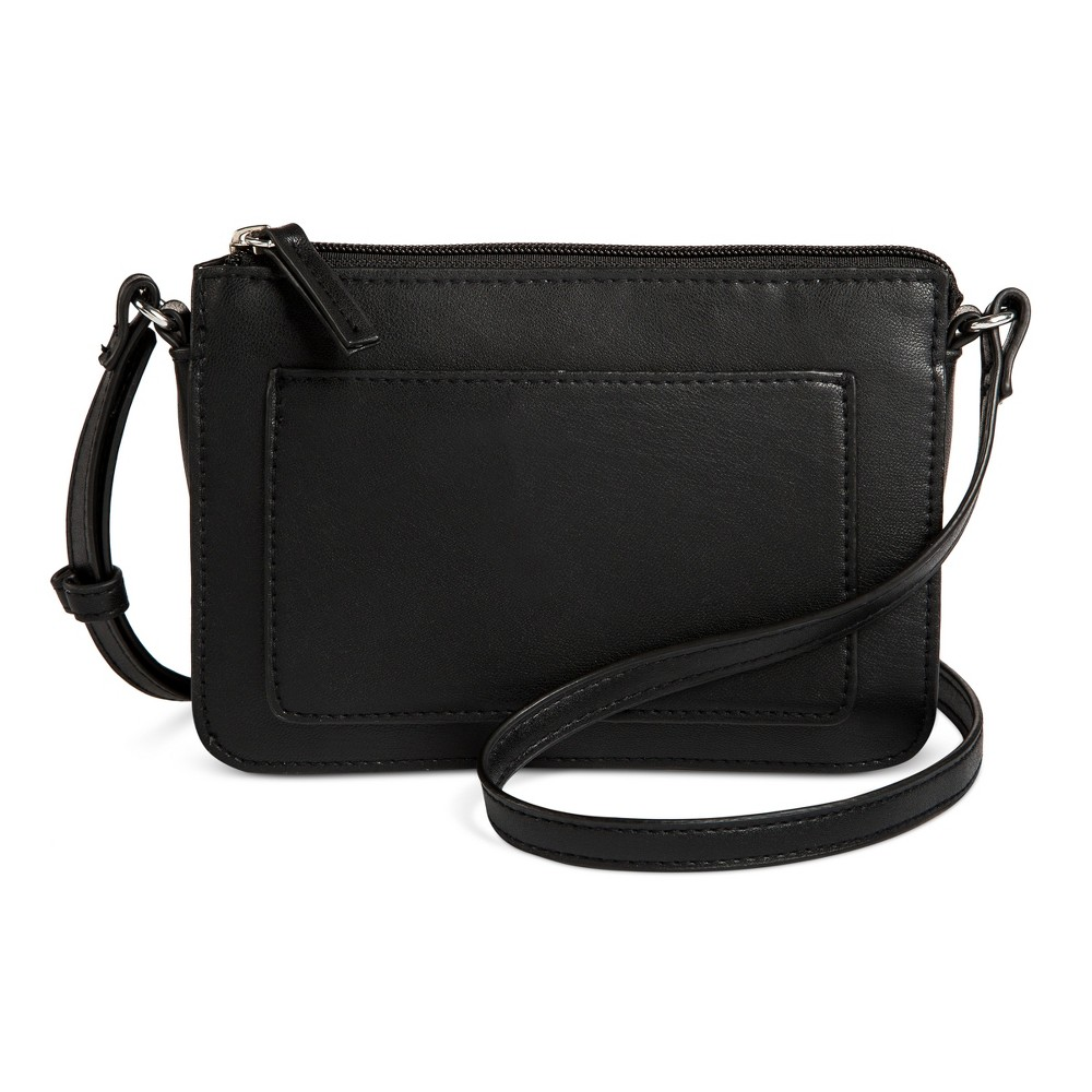 Womens Zip Front Pocket Crossbody Handbag - Mossimo Supply Co. Black, Size: Small