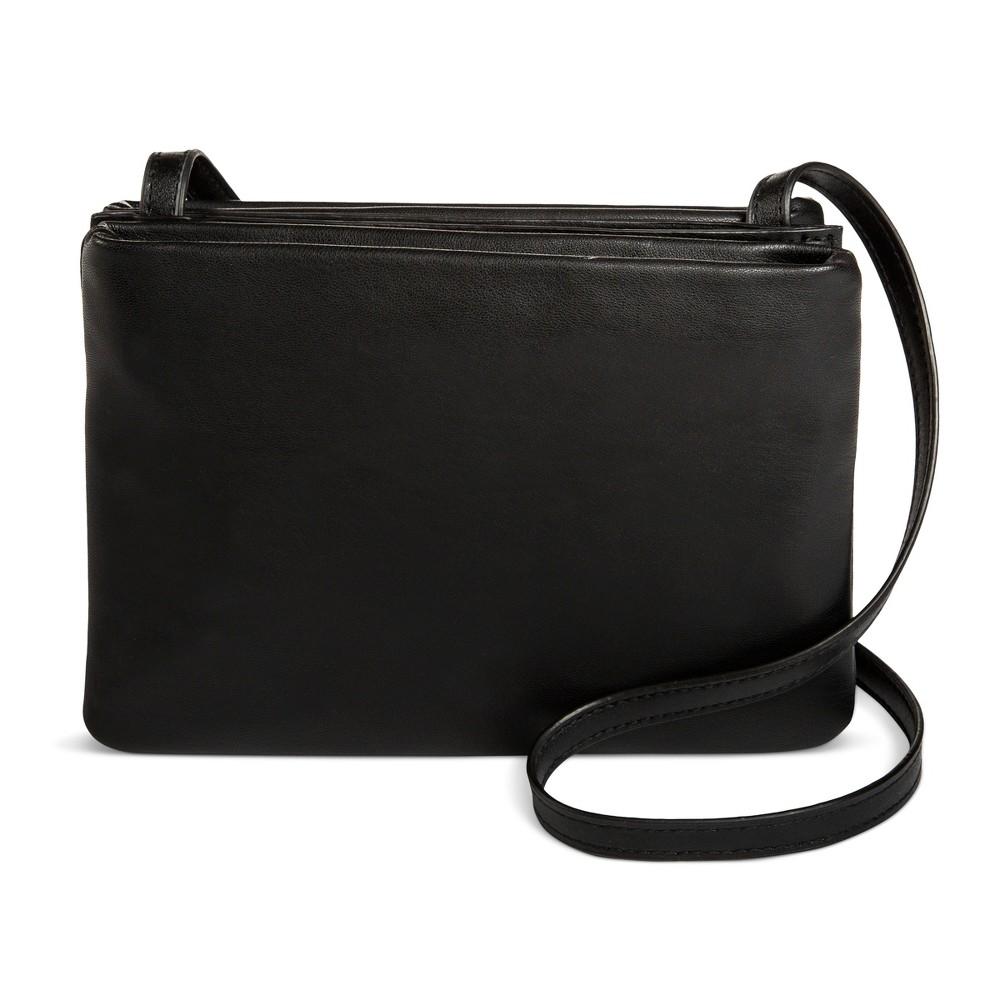 Womens Triple-compartment Crossbody Handbag - Mossimo Supply Co. Black