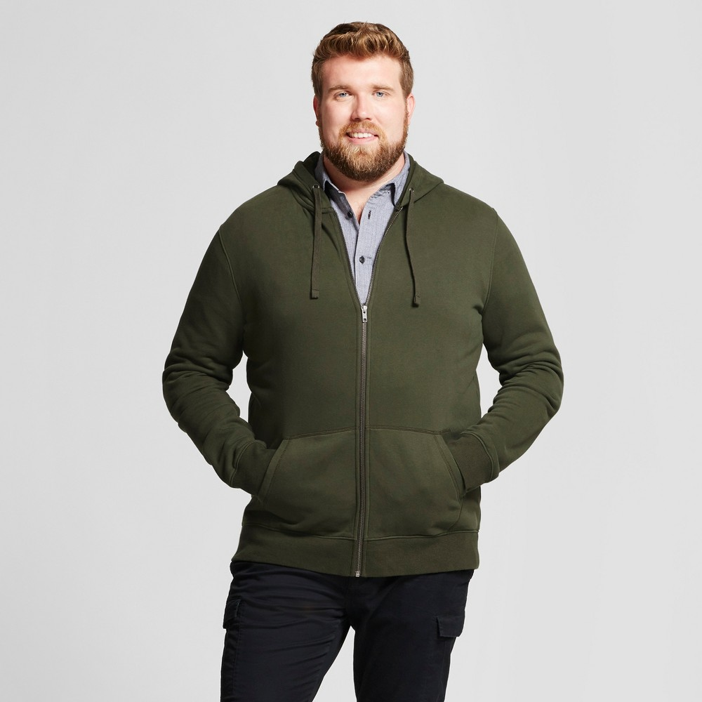 Men's Big & Tall Long Sleeve Hooded Fleece Sweatshirt - Goodfellow & Co Green Xlt