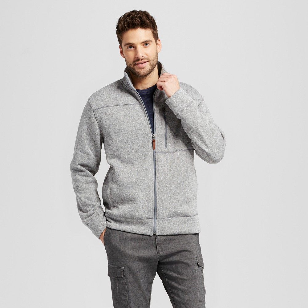 Mens Standard Fit Sweater Fleece Jacket - Goodfellow & Co Light Gray L