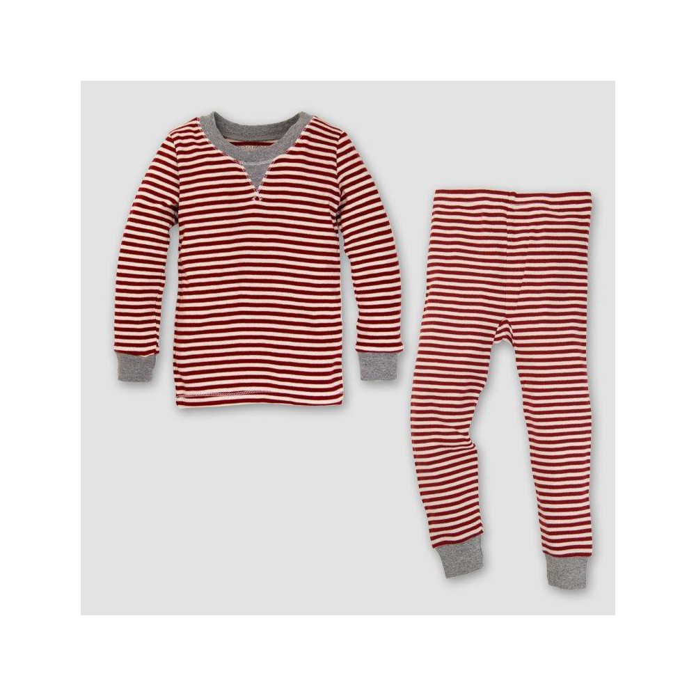Burts Bees Baby Organic Cotton 2pc Candy Cane Stripe Pajama Set - Red 12M, Infant Unisex, Size: 12 M, Pink