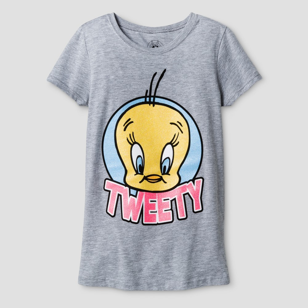 Girls Looney Tunes Tweety Bird Face Logo Graphic Short Sleeve T-Shirt - Athletic Heather - M, Gray