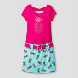 Girls' ZENZI Short Sleeve Marsha Dress w/ Pineapple Nailhead Applique & Printed Shirt - Pink