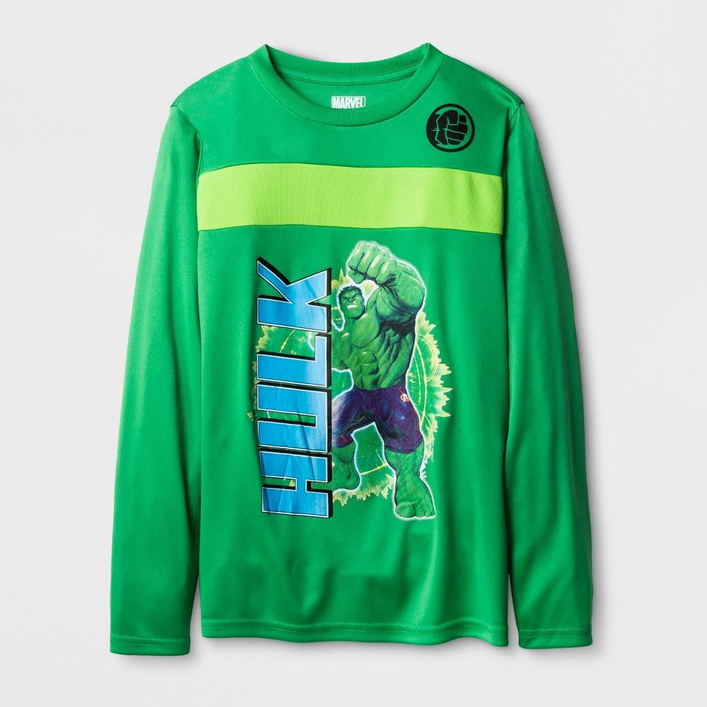 Boys' Marvel Hulk Activewear T-Shirt - Kelly Green XS