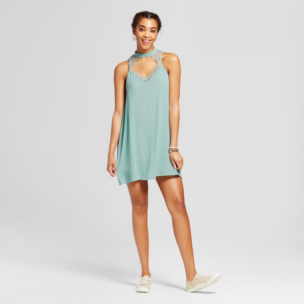 Womens Lace Inset Cut Out Shift Dress - Soul Cake (Juniors) Aqua L, Blue