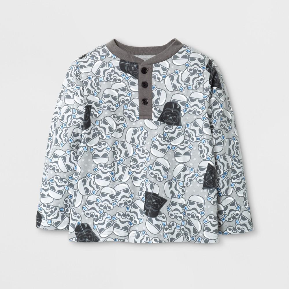 Toddler Boys Star Wars Long Sleeve Henley Shirt - Silver 2T