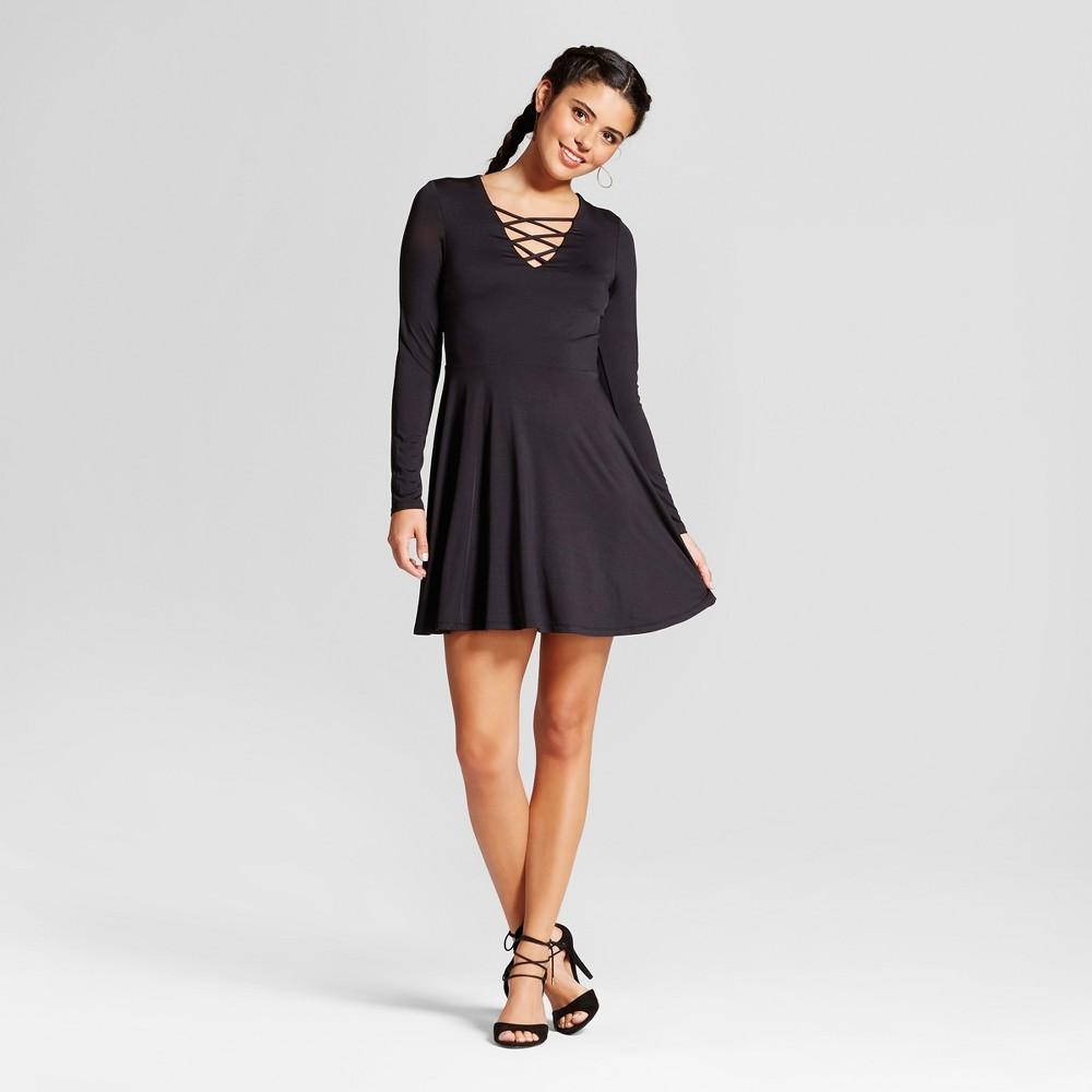 Womens Lace-up Knit Fit & Flare Dress - Xhilaration (Juniors) Black S