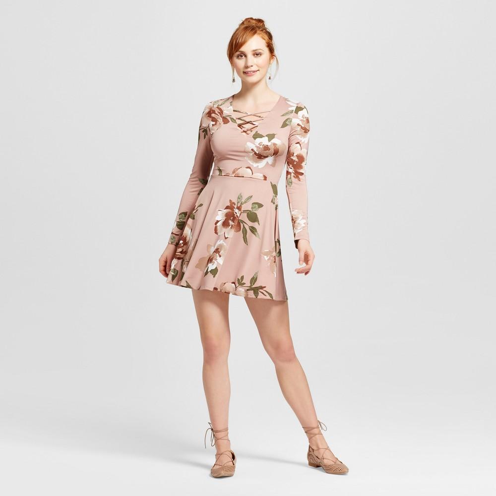 Womens Lace-up Knit Fit & Flare Dress - Xhilaration (Juniors) Mauve (Pink) Xxl