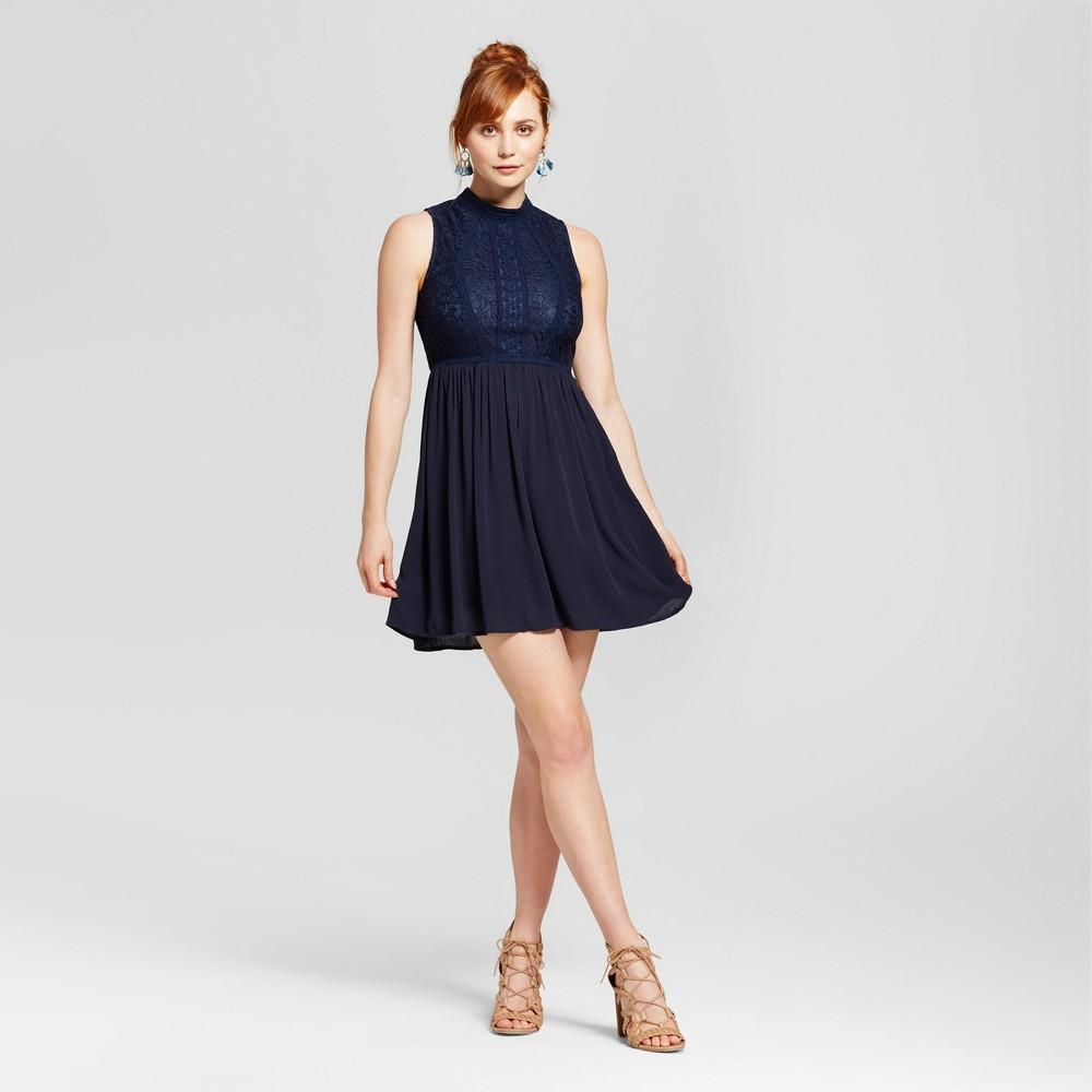 Womens Mockneck Victorian Fit & Flare Dress - Xhilaration (Juniors) Navy (Blue) S