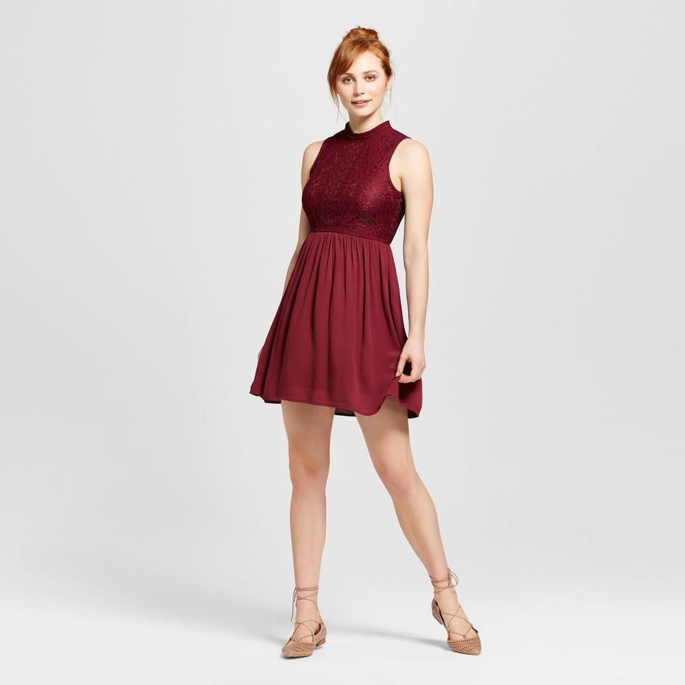 Womens Mockneck Victorian Fit & Flare Dress - Xhilaration (Juniors) Berry (Pink) M
