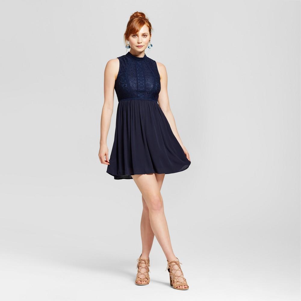 Womens Mockneck Victorian Fit & Flare Dress - Xhilaration (Juniors) Navy (Blue) L