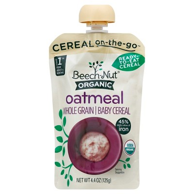 Beech-Nut Organic Ready-to-Eat Food Pouch, Oatmeal - 4.4oz