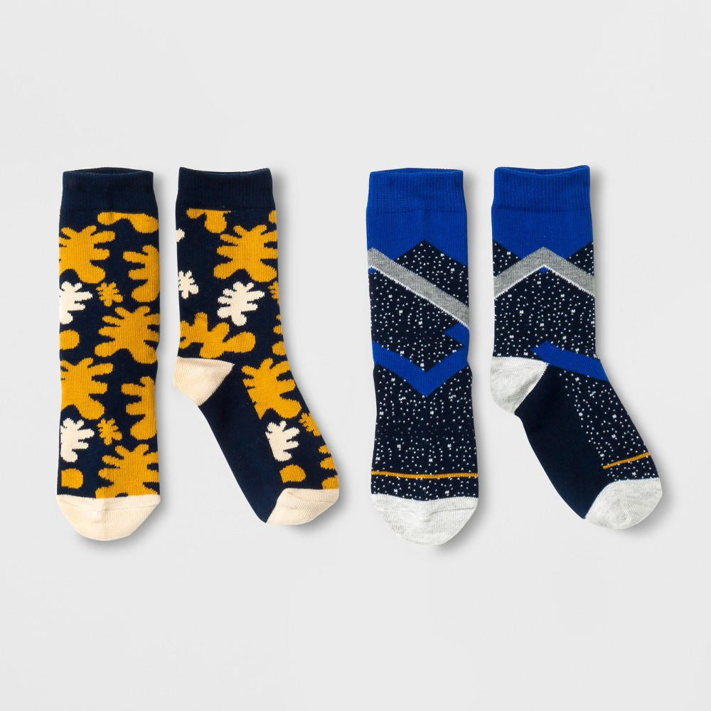 Imn Socks Child Casual Socks Pair of Thieves 2 Pk Yellow Navy Cobalt L, Kids Unisex, Blue Yellow
