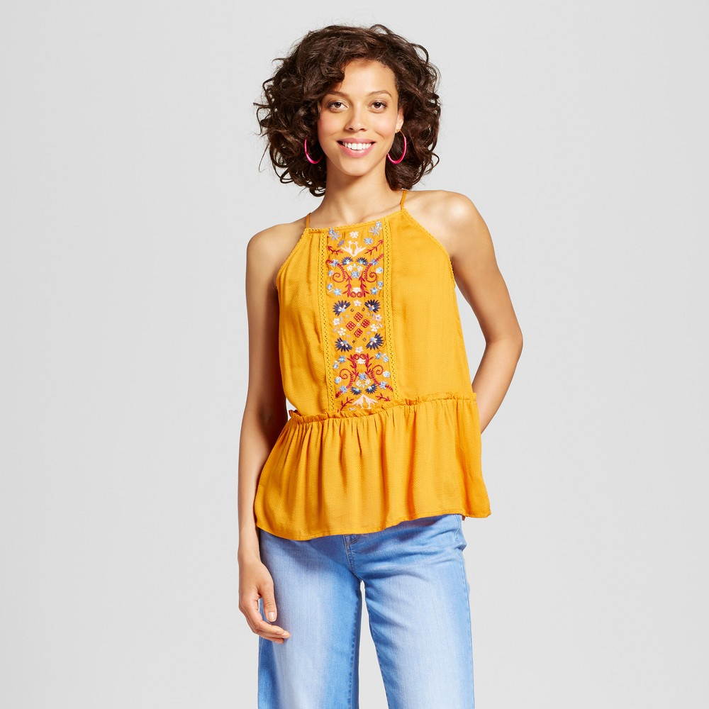 Womens Embroidered Tank Top - Xhilaration (Juniors) Yellow XS