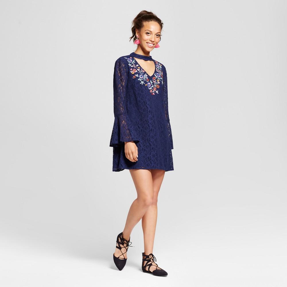 Womens Lace Bell-Sleeve Cutout Shift Dress - Xhilaration (Juniors) Navy XS, Blue
