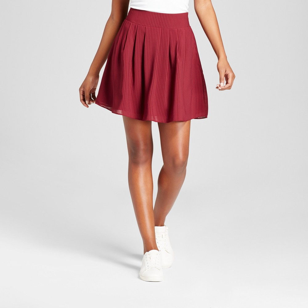 Womens Pleated Skirt - A New Day Maroon (Red) L