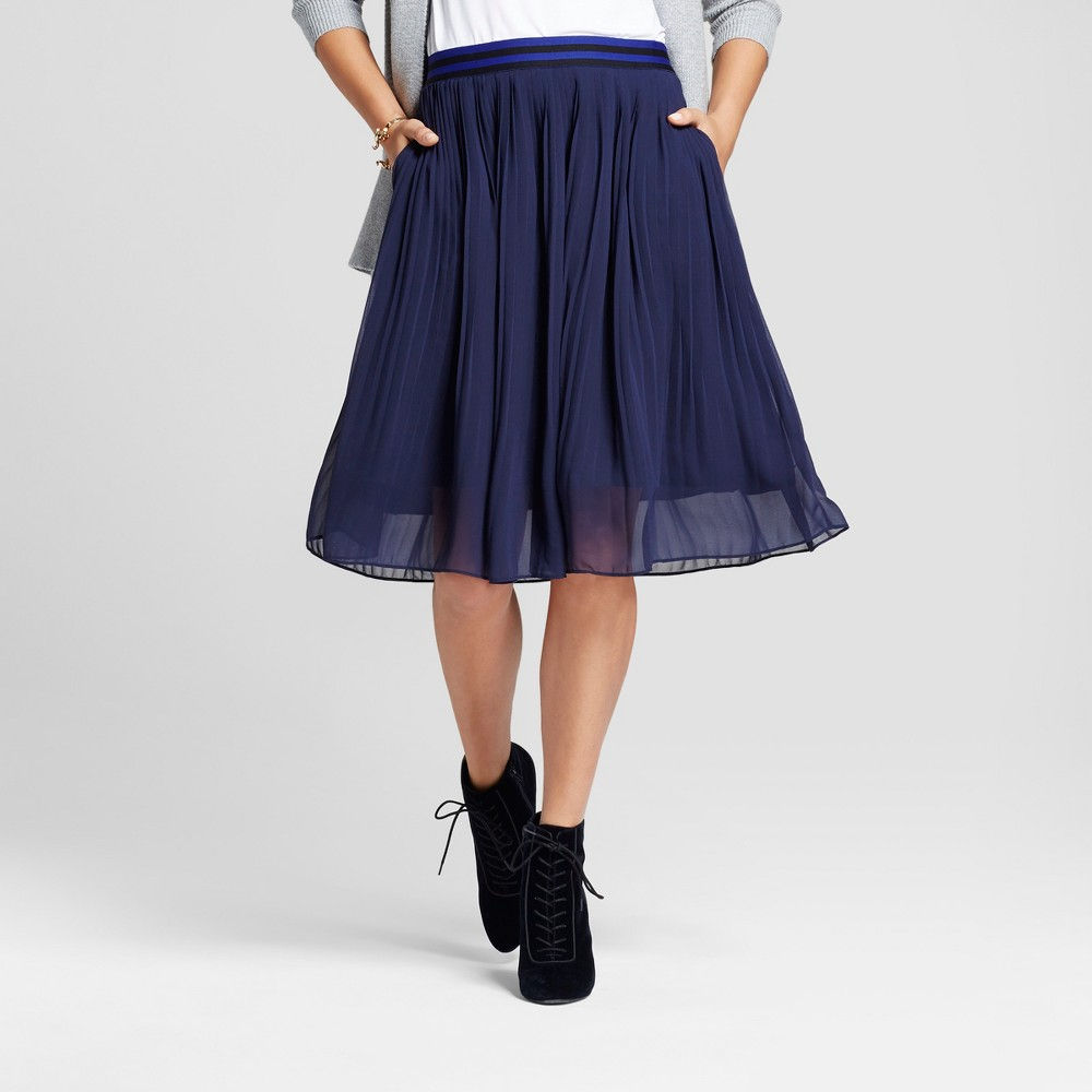 Womens Pleated Midi Skirt - A New Day Navy (Blue) S