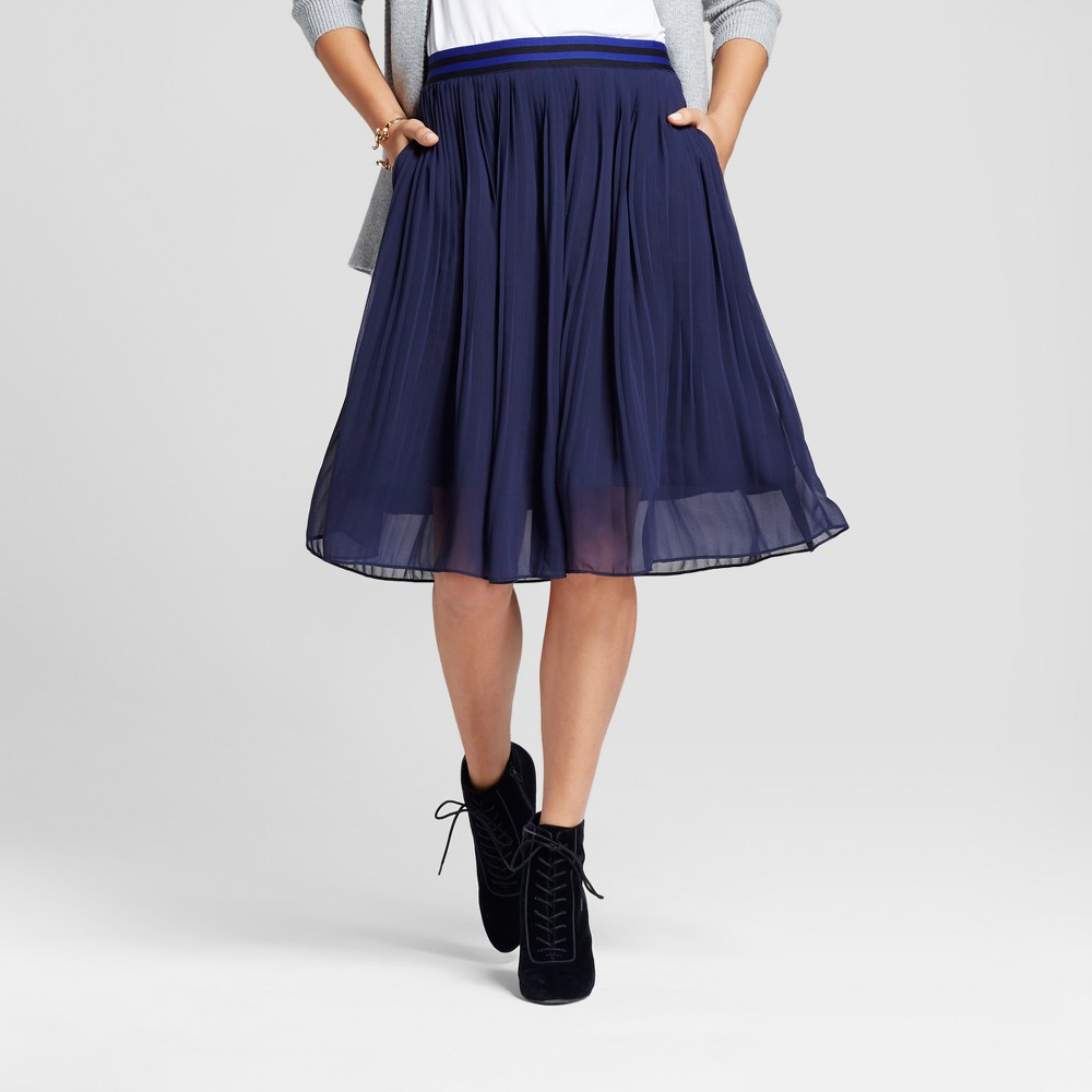 Womens Pleated Midi Skirt - A New Day Navy (Blue) M