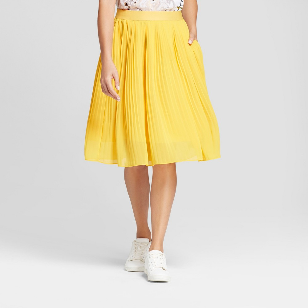 Womens Pleated Midi Skirt - A New Day Gold S