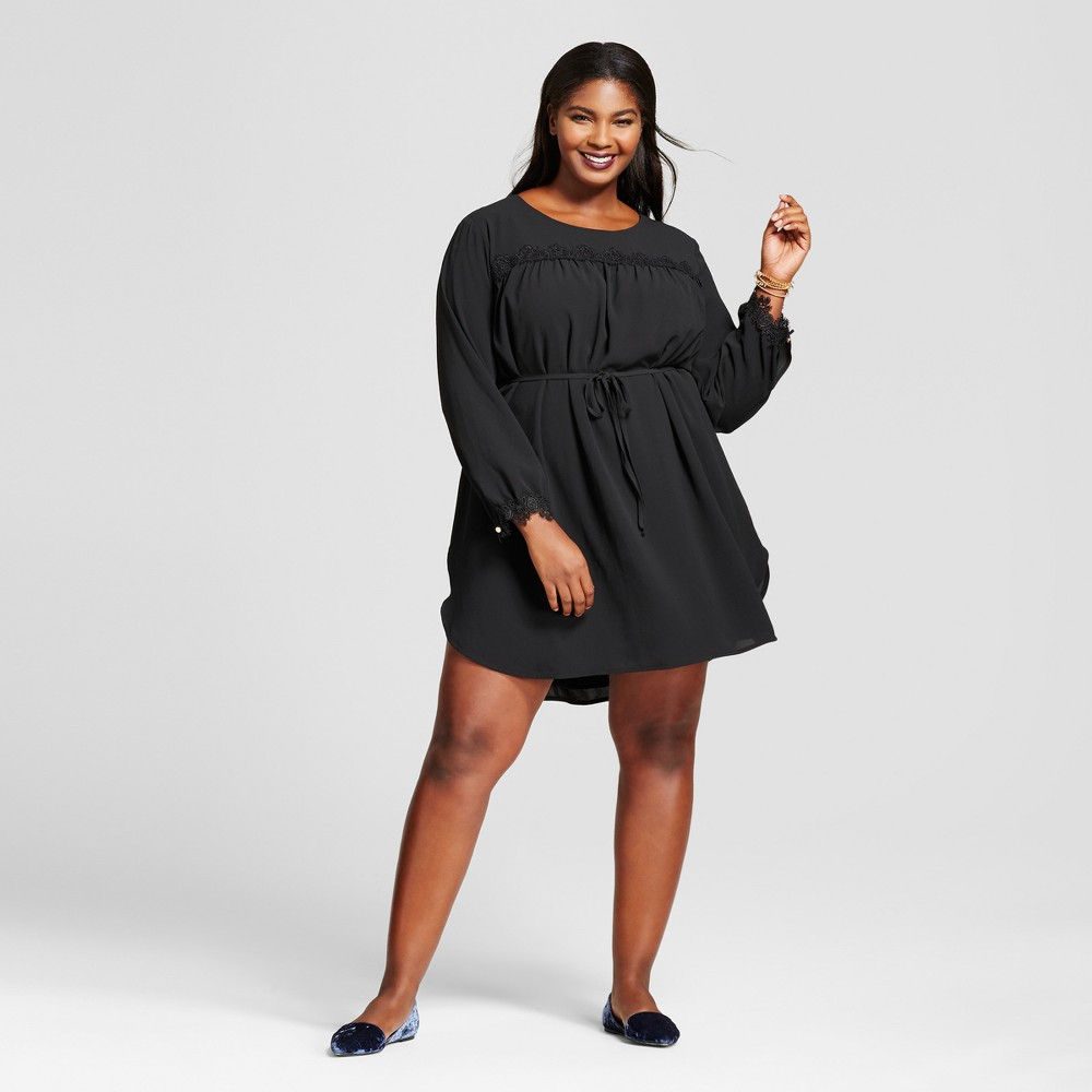 Womens Plus Size Long Sleeve Lace Detail Crepe Dress - A New Day Black 4X