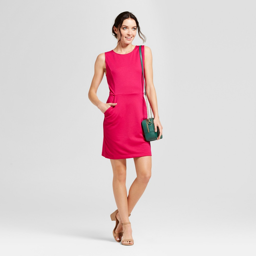 Womens Ponte Sheath Dress - A New Day Magenta (Pink) L