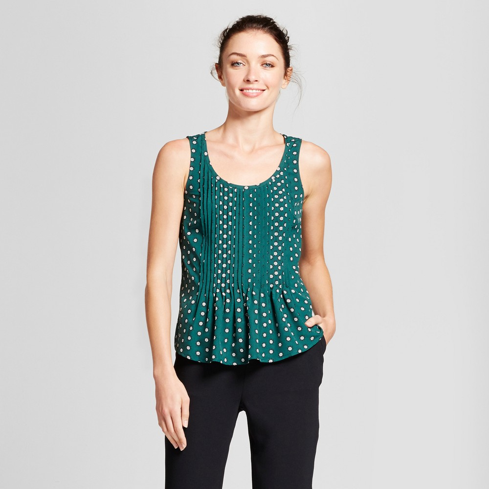 Womens Printed Pintuck Tank - A New Day Green L
