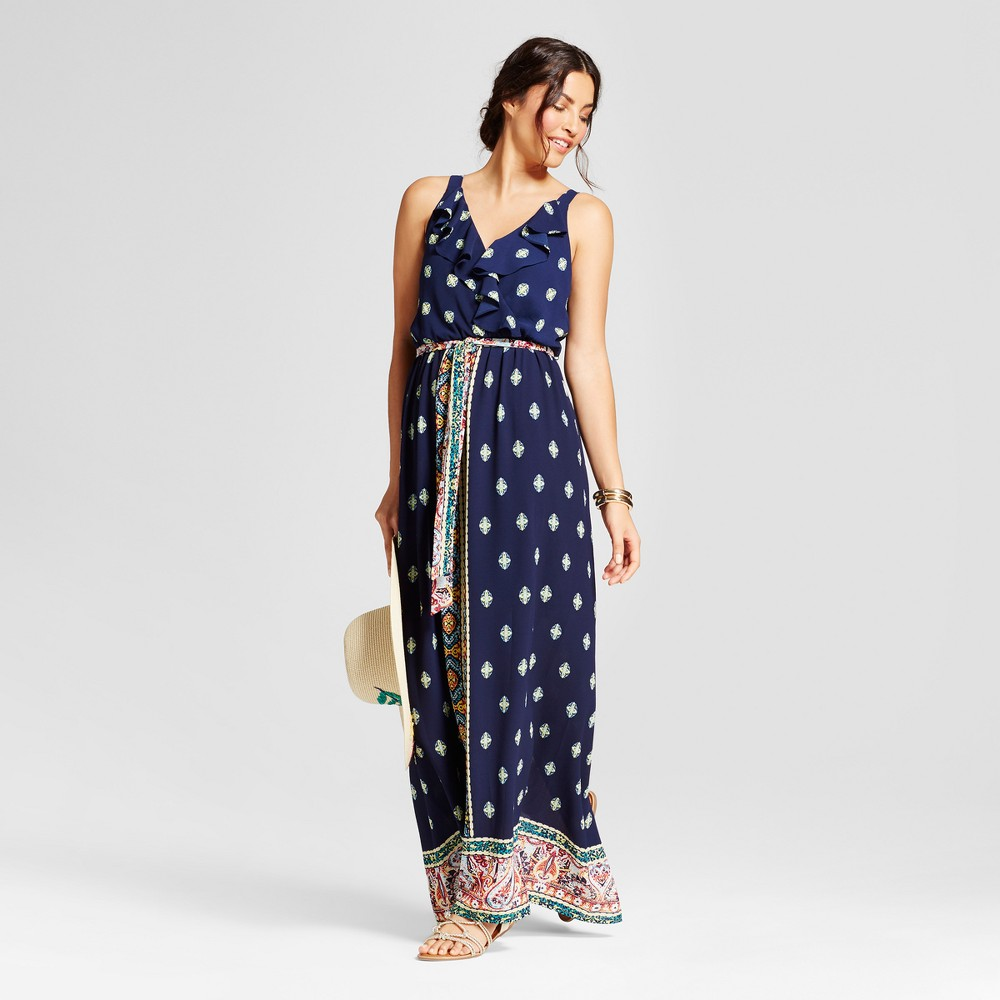 Womens Border Printed Maxi Dress with Ruffle - Lux II - Navy/Yellow 8, Blue