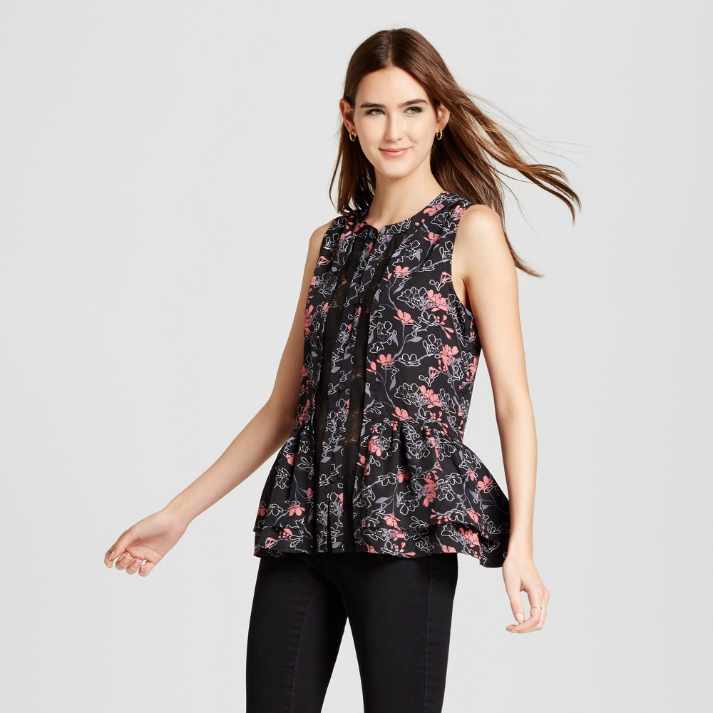 Womens Printed Lace Button Up Tank - Layered with Love Black M, Black Red