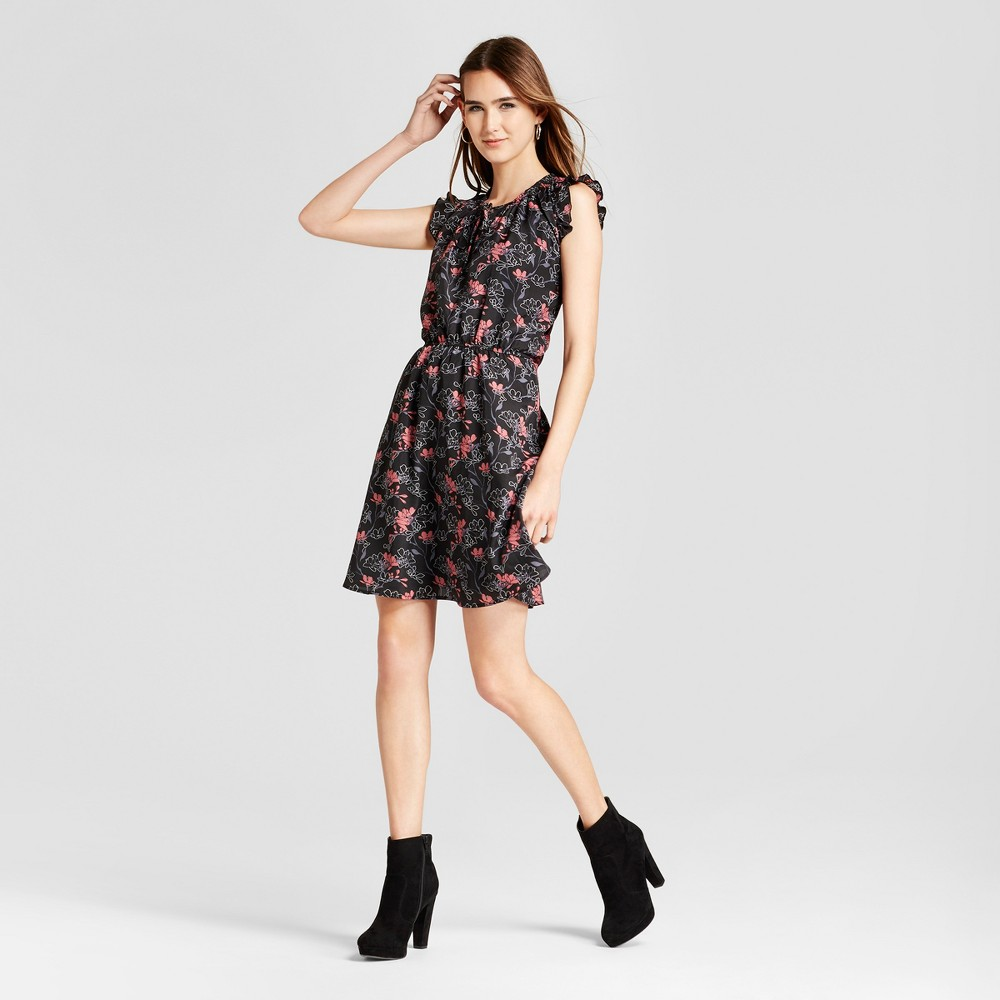 Womens Printed Ruffle Sleeve Dress - Layered with Love Black S, Black Red