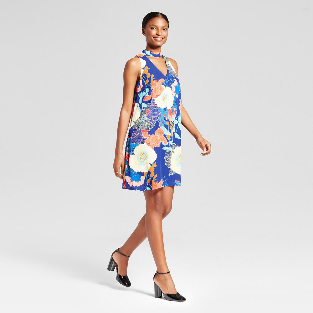 Womens Printed V-Neck Trapeze Dress with Choker - Lux II - Blue Combo 12