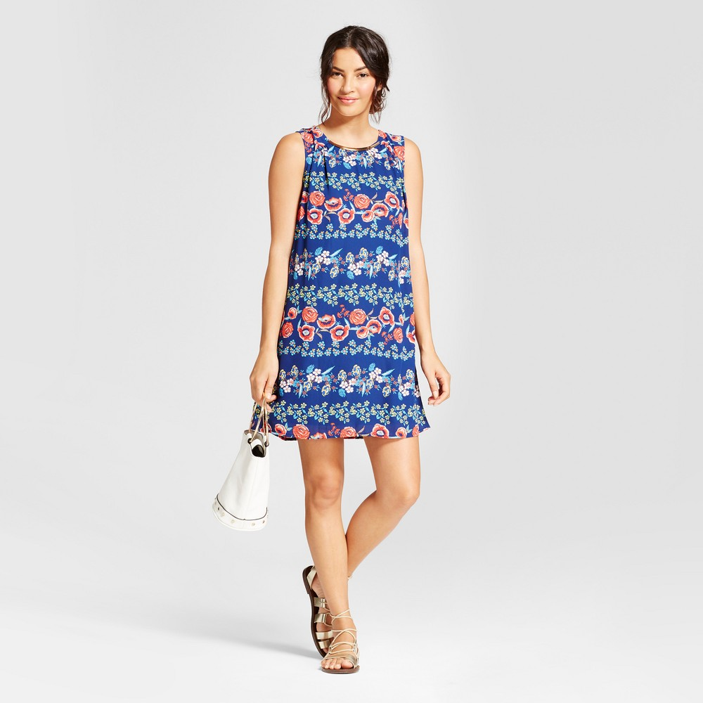 Womens Printed Tank Dress with Necklace Bar - Lux II - Blue/Red 14