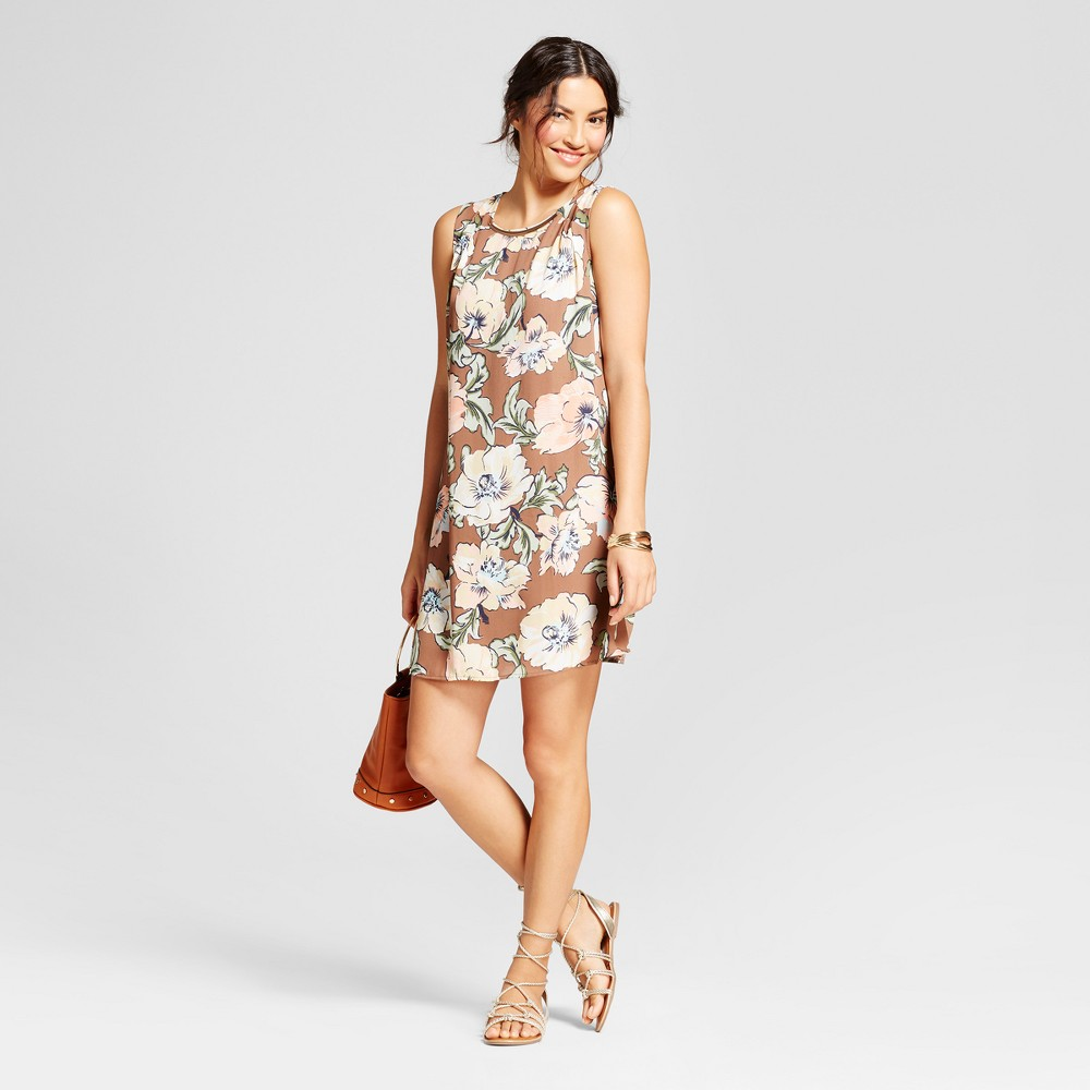 Womens Floral Printed Tank Dress with Necklace Bar - Lux II - Mocha Combo 8, Brown