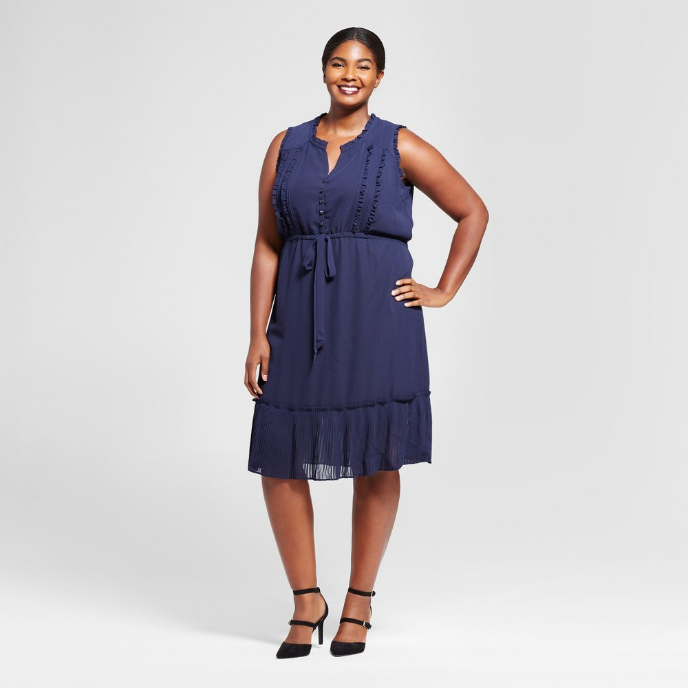 Womens Plus Size Pleated Trim Midi Dress - A New Day Navy 1X, Blue