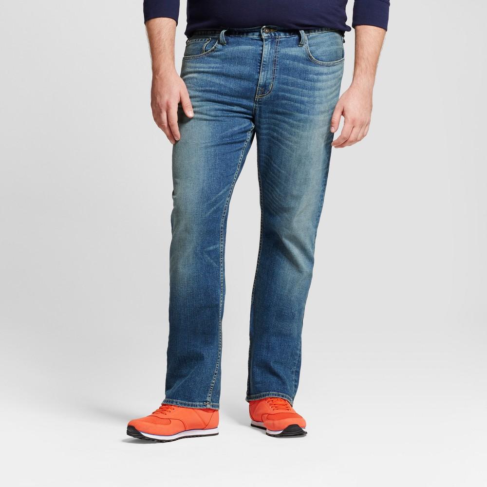 Mens Big & Tall Straight Fit Jeans - Goodfellow & Co Medium Denim Wash 52x32, Blue