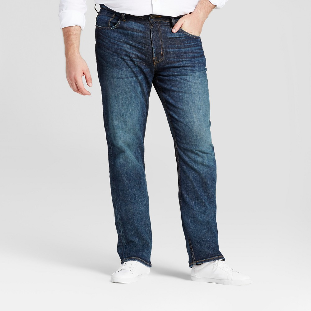 Mens Big & Tall Straight Fit Jeans - Goodfellow & Co Dark Denim Wash 48x32, Size: 54X30, Blue