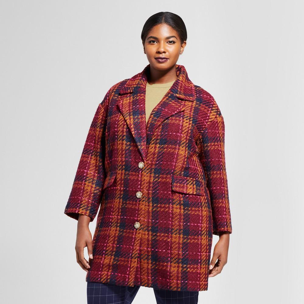 Womens Plus Size Plaid Top Coat - A New Day Cherry 4X, Purple