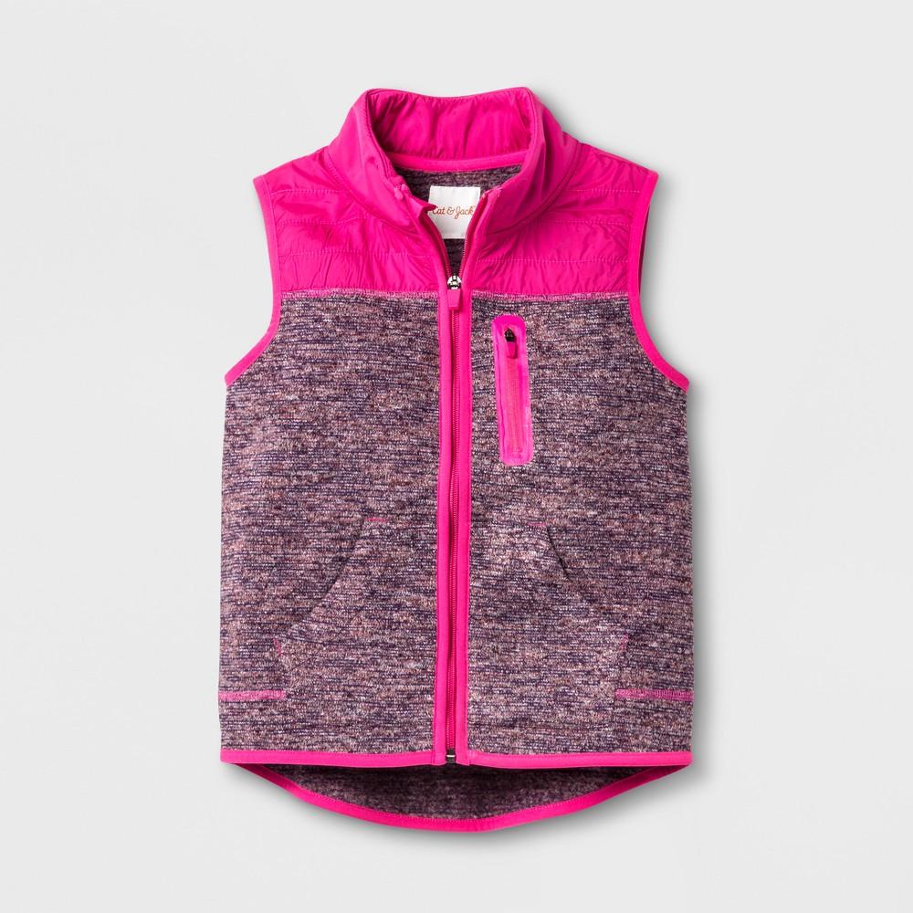 Girls Sleeveless Fleece Vest - Cat & Jack Maroon/Pink (Red/Pink) XL